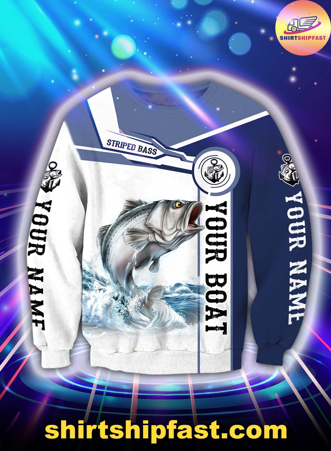 Personalized striped bass fishing catch and release 3d sweatshirt