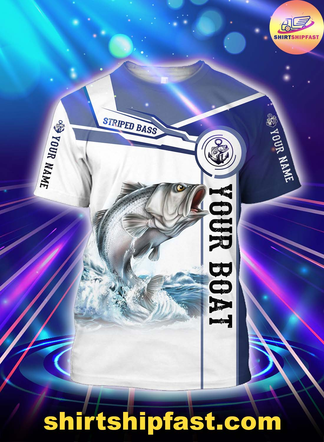 Personalized striped bass fishing catch and release 3d t-shirt