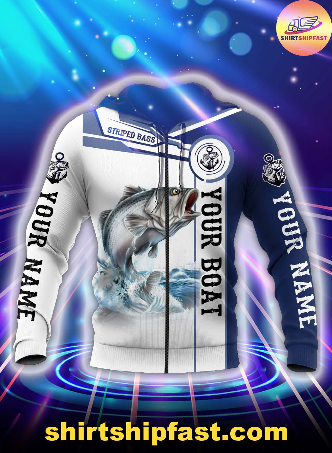 Personalized striped bass fishing catch and release 3d zip hoodie