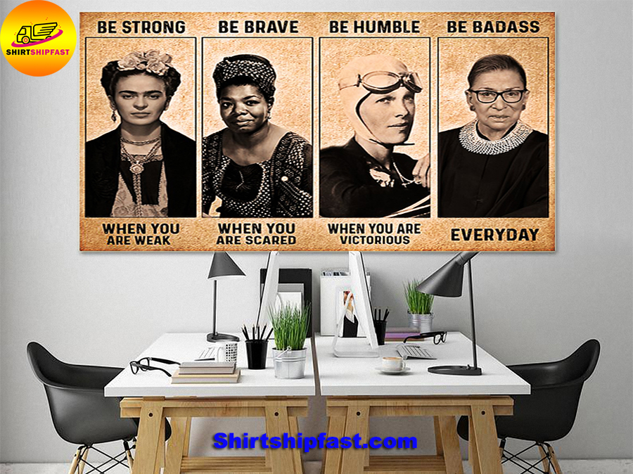 RBG Frida Kahlo feminist be strong be brave be humble be badass canvas - Picture 1