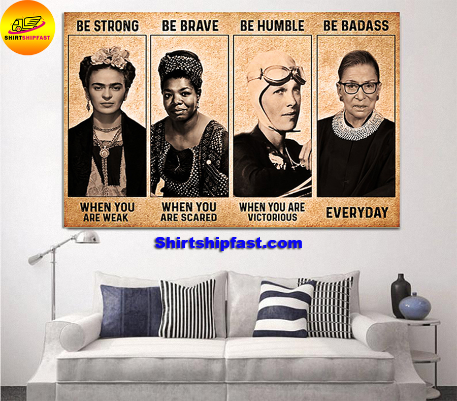 RBG Frida Kahlo feminist be strong be brave be humble be badass canvas - Picture 2