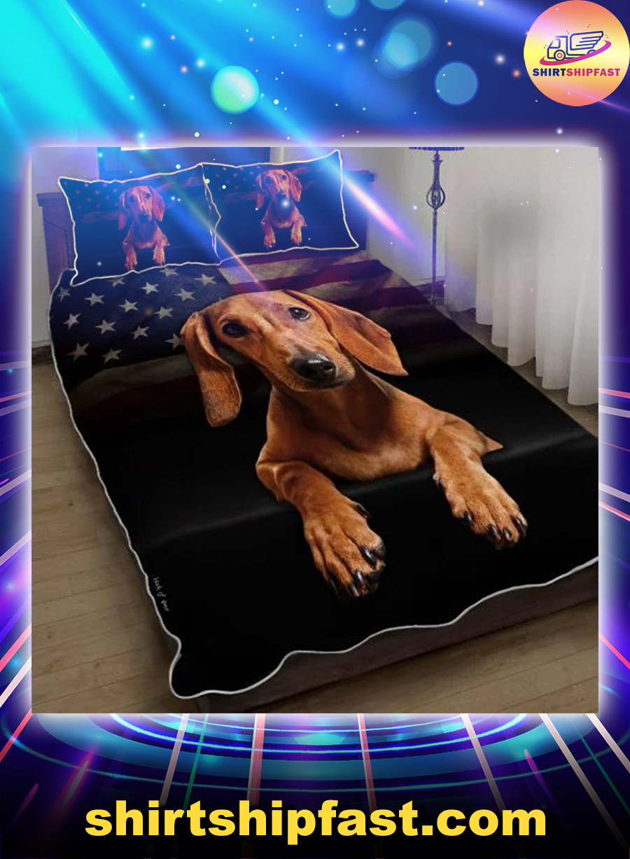 Red Dachshund American flag quilt bed set - Picture 1