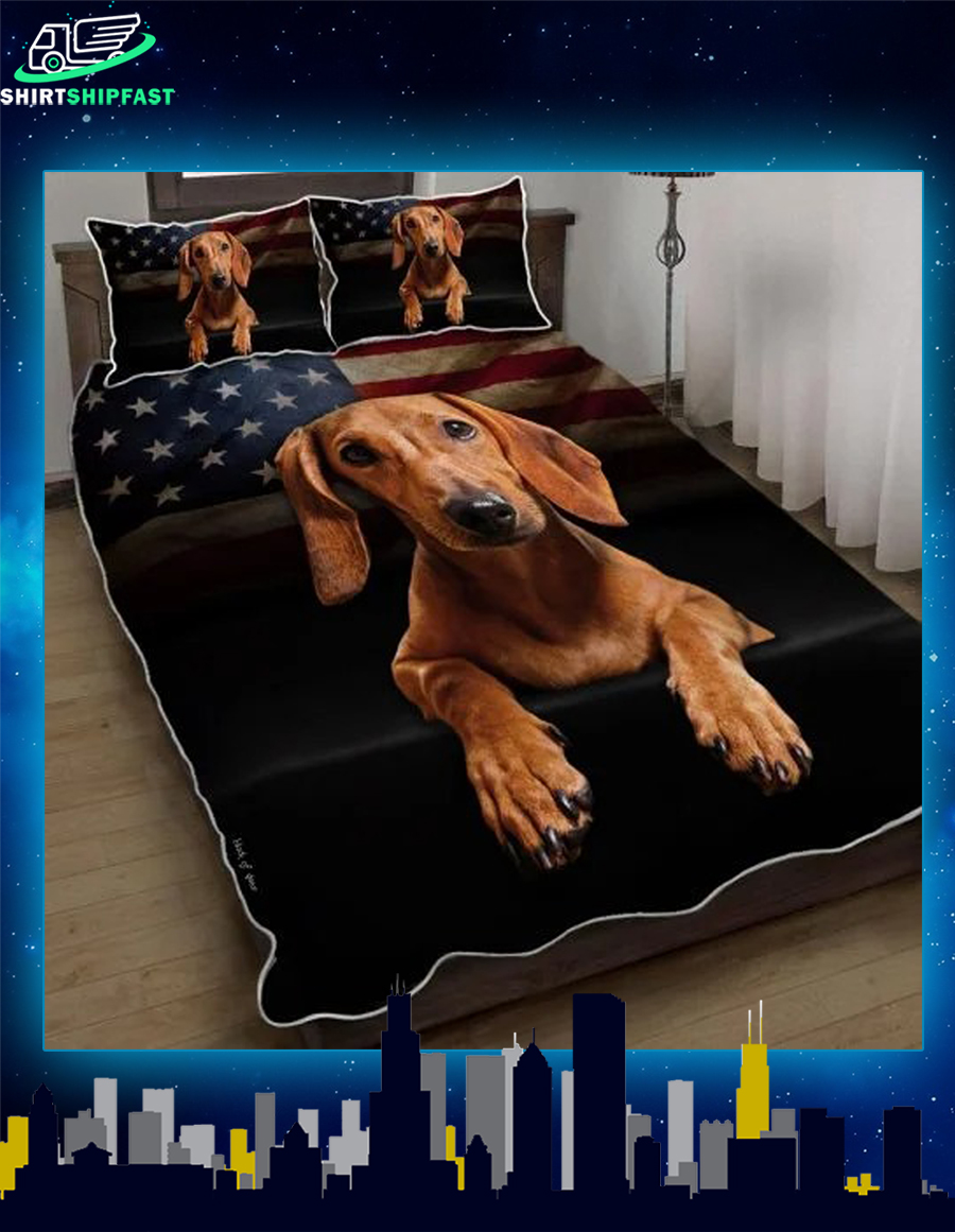 Red Dachshund American flag quilt bed set - Picture 2