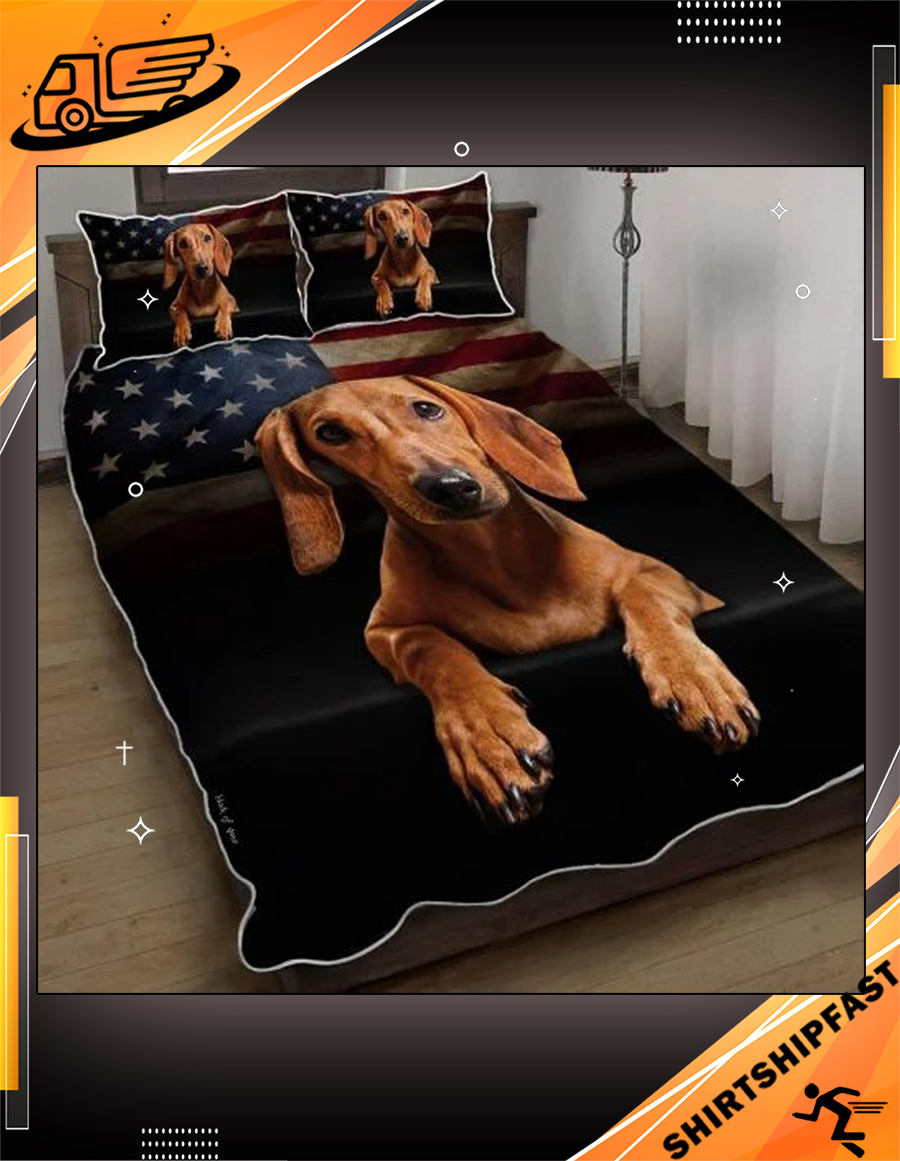 Red Dachshund American flag quilt bed set - Picture 3