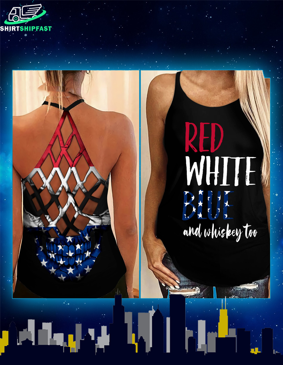 Red white blue and whiskey too criss-cross open back camisole tank top - Picture 1