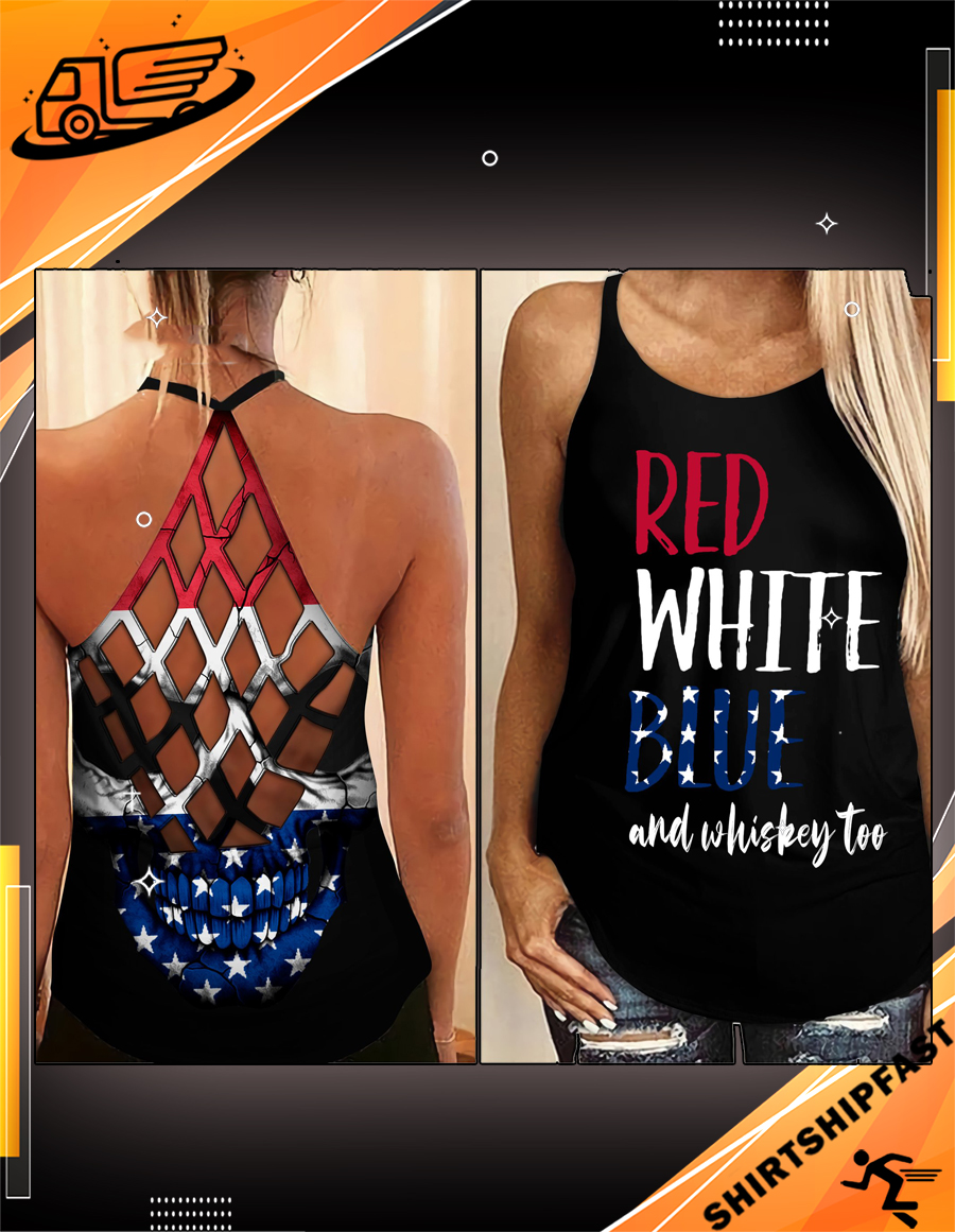 Red white blue and whiskey too criss-cross open back camisole tank top - Picture 2