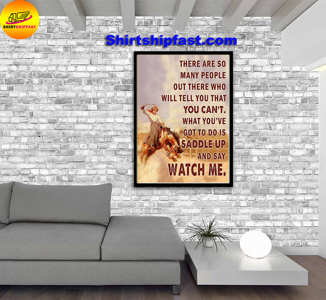 Saddle bronc cowgirl watch me poster and canvas - Picture 1