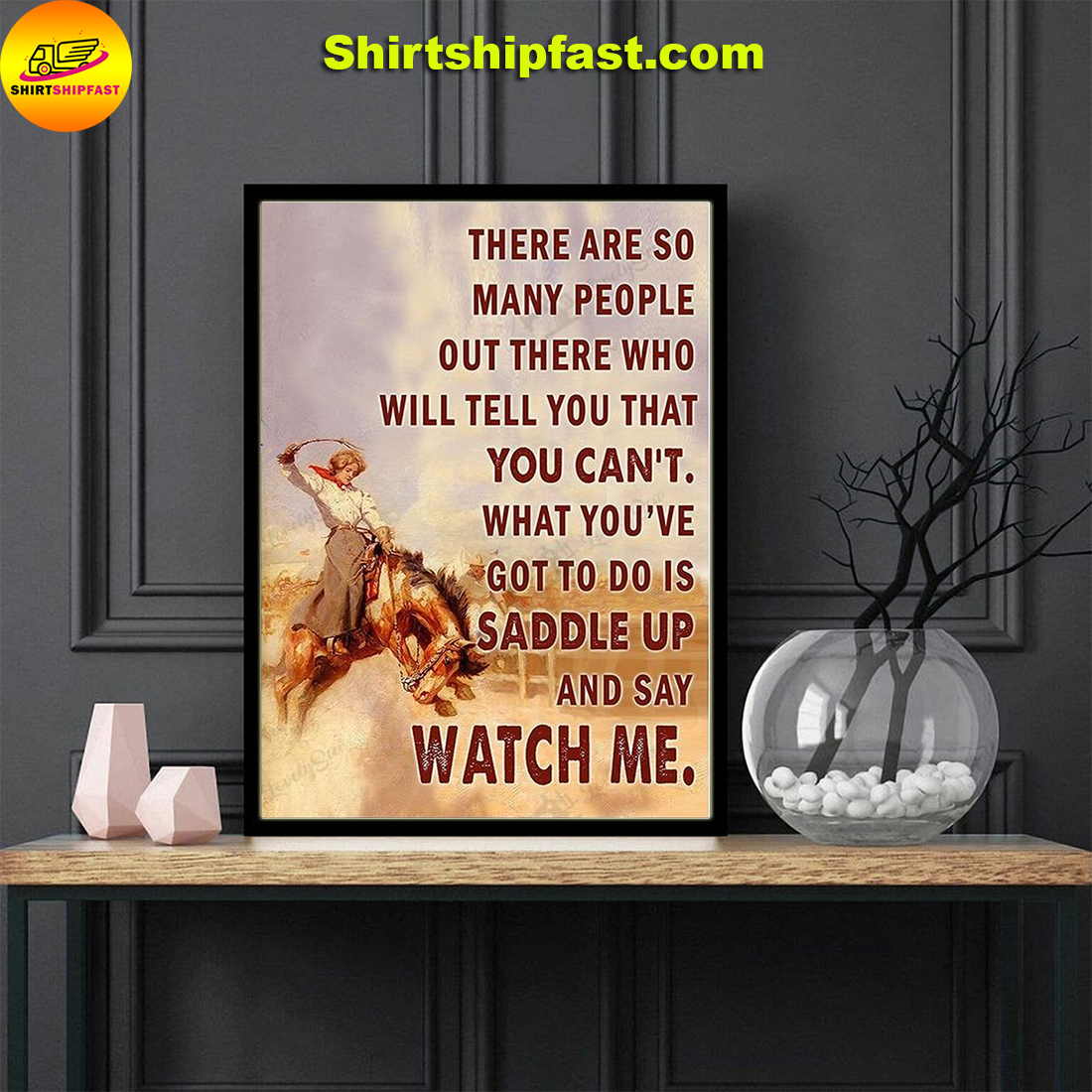 Saddle bronc cowgirl watch me poster and canvas - Picture 2