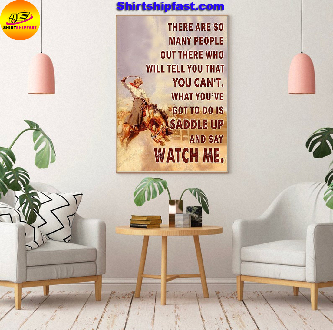 Saddle bronc cowgirl watch me poster and canvas - Picture 3