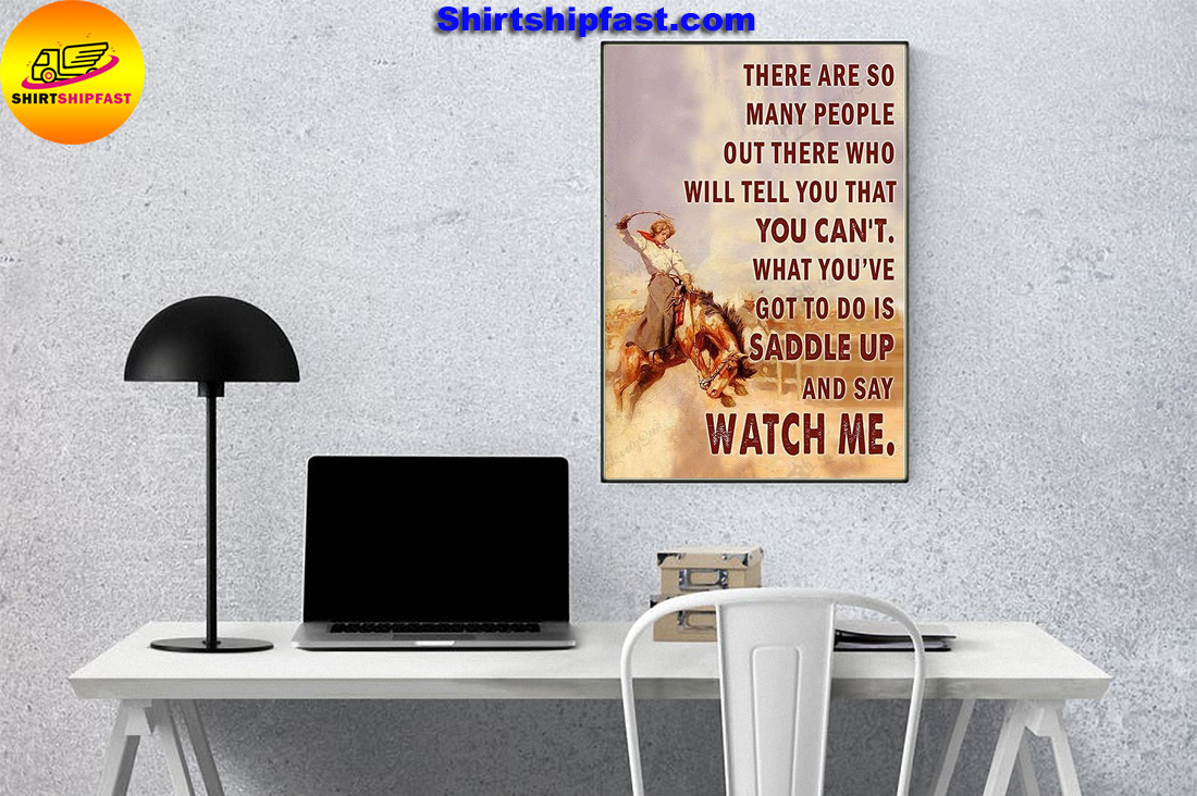 Saddle bronc cowgirl watch me poster and canvas