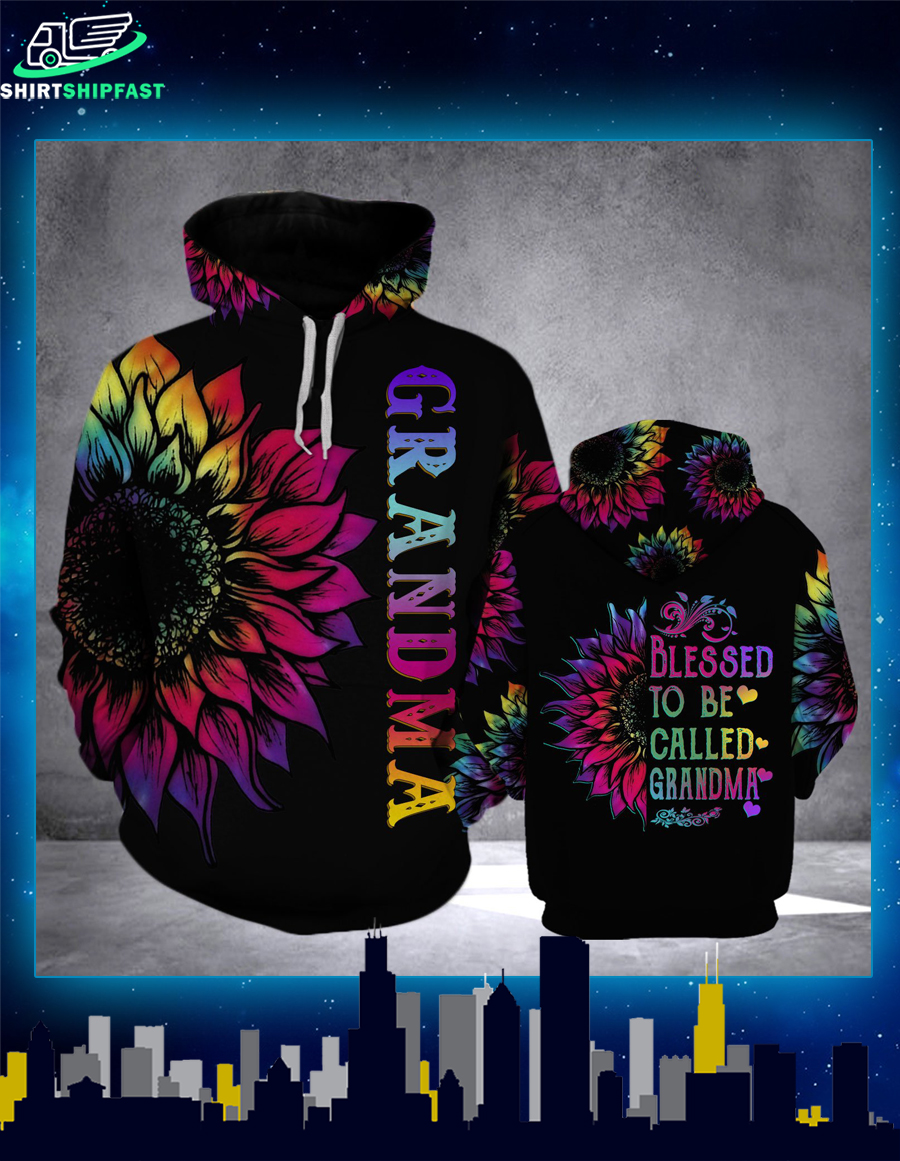 Sunflower Blessed to be called grandma 3d hoodie - Picture 2