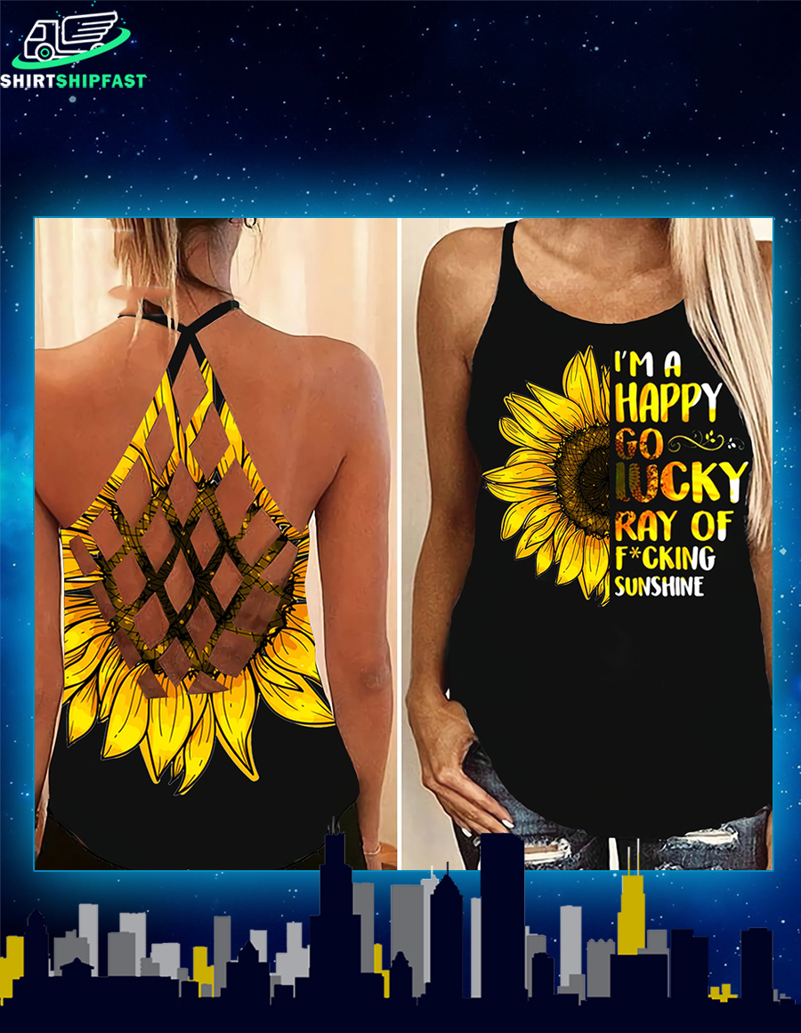 Sunflower I'm a happy go lucky ray of fucking criss-cross open back camisole tank top - Picture 1