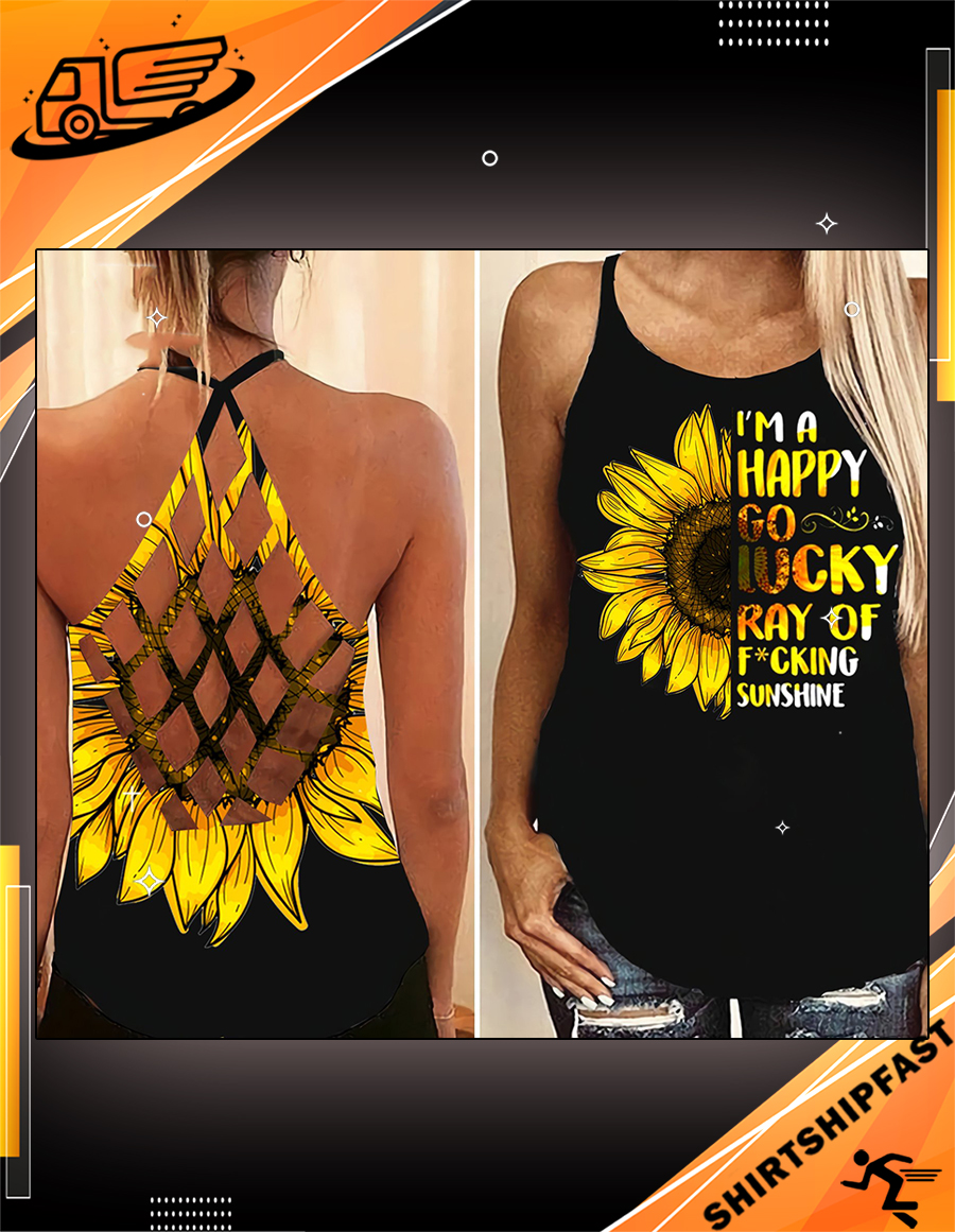 Sunflower I'm a happy go lucky ray of fucking criss-cross open back camisole tank top - Picture 2