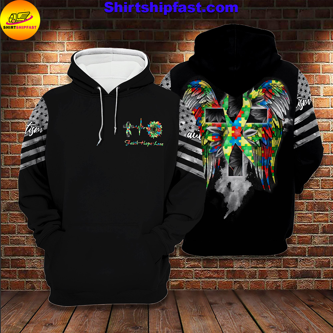 Sunflower autism wings all over printed hoodie