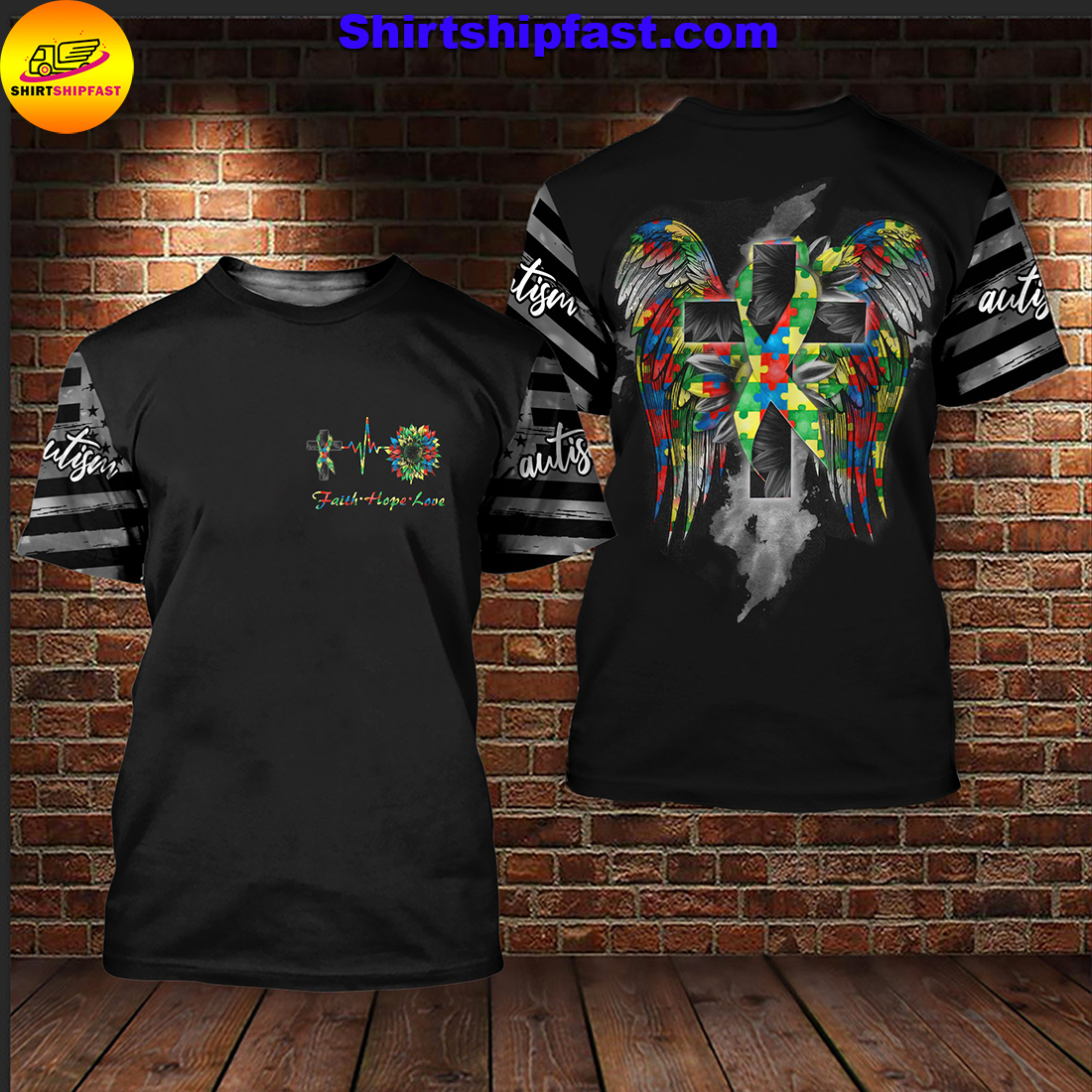 Sunflower autism wings all over printed t-shirt