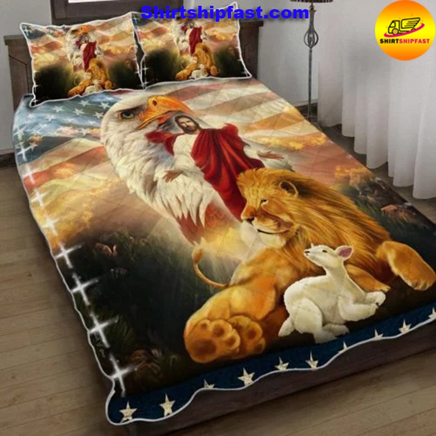 The Lion and The Lamb Jesus Eagle Quilt Bed Set - Picture 2