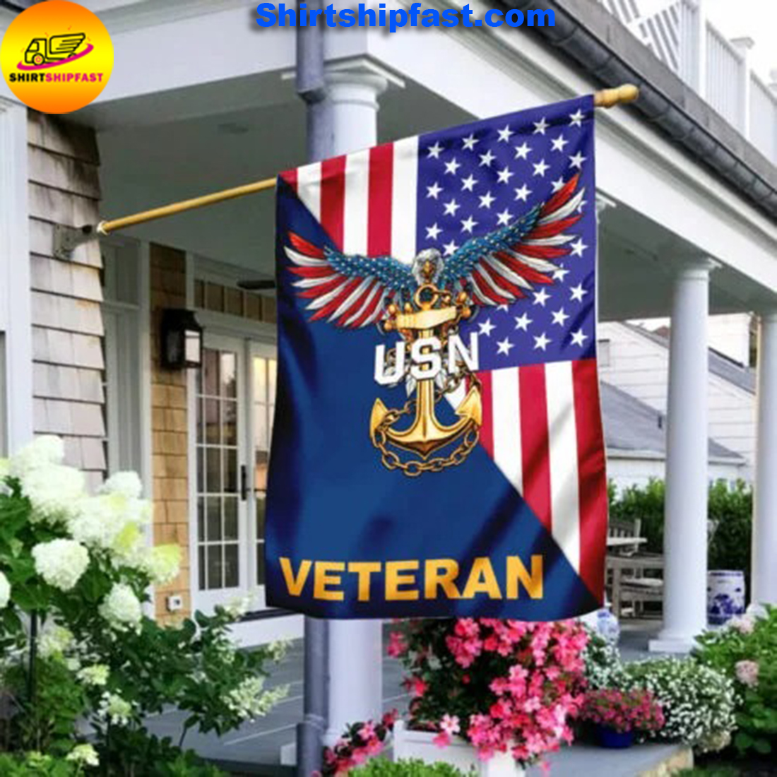 United States Navy American Eagle Veteran Flag - Picture 2
