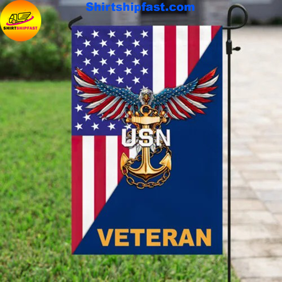 United States Navy American Eagle Veteran Flag - Picture 3