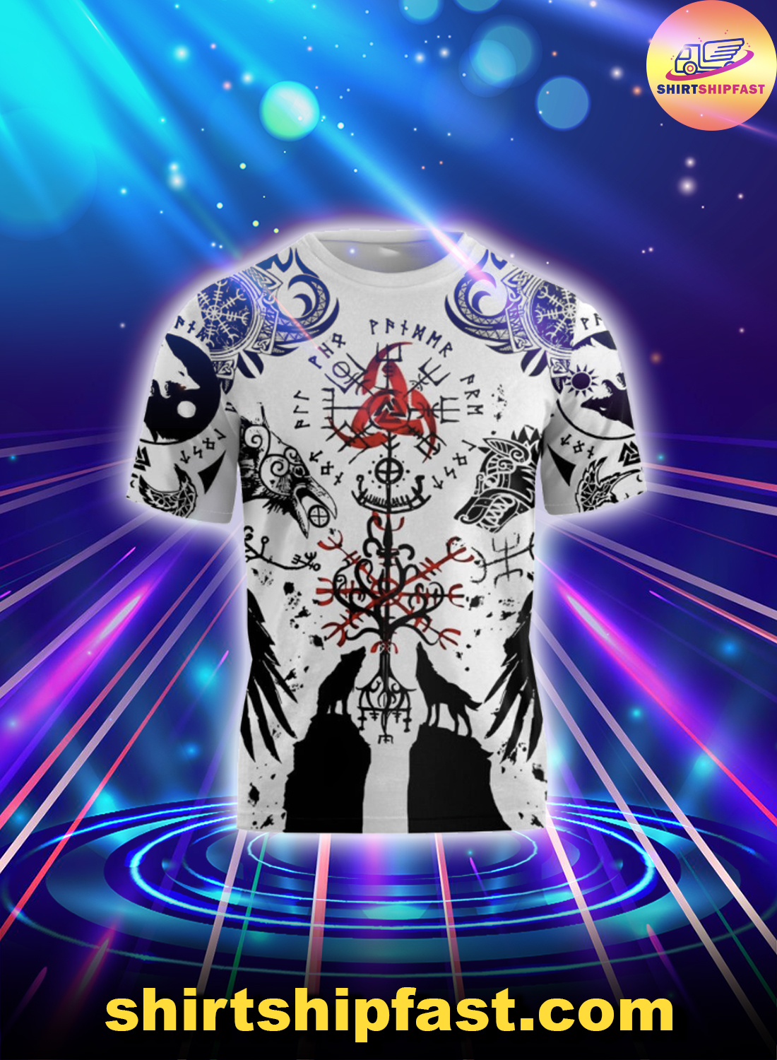 Vikings tattoo wolf all over printed t-shirt
