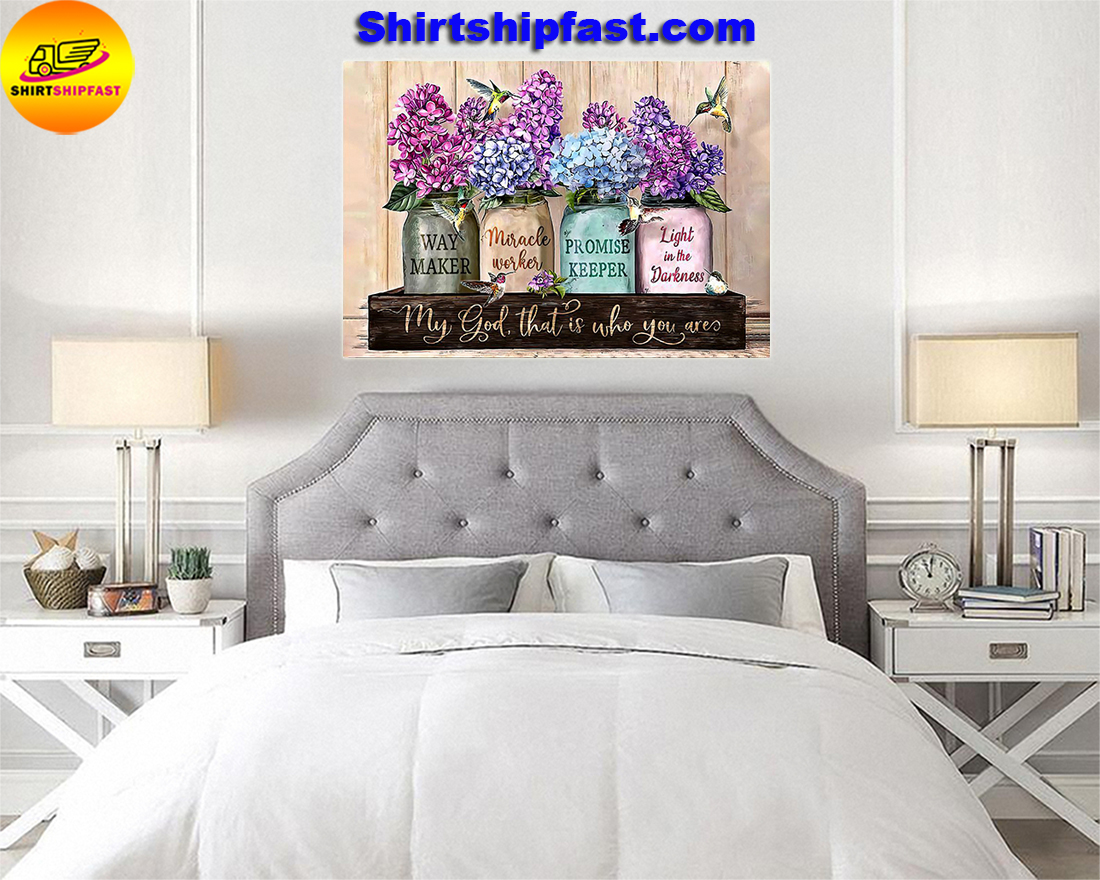 Violet flower pot hummingbird My god that is who you are poster - Picture 1