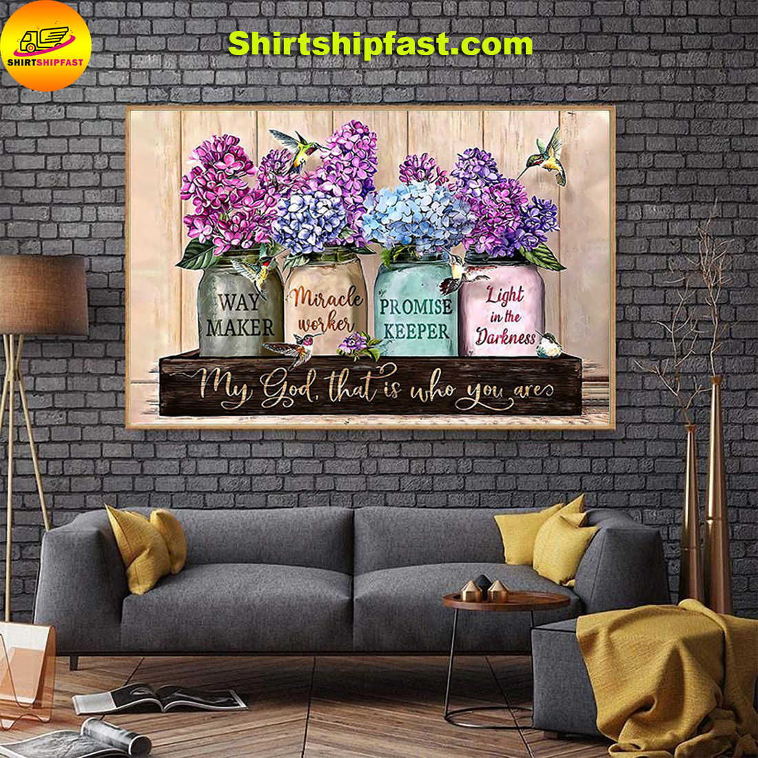 Violet flower pot hummingbird My god that is who you are poster - Picture 3