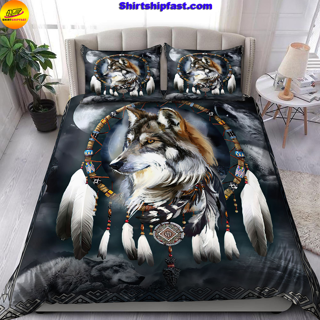 Wolf native american 3D all over printed bedding set - Picture 1