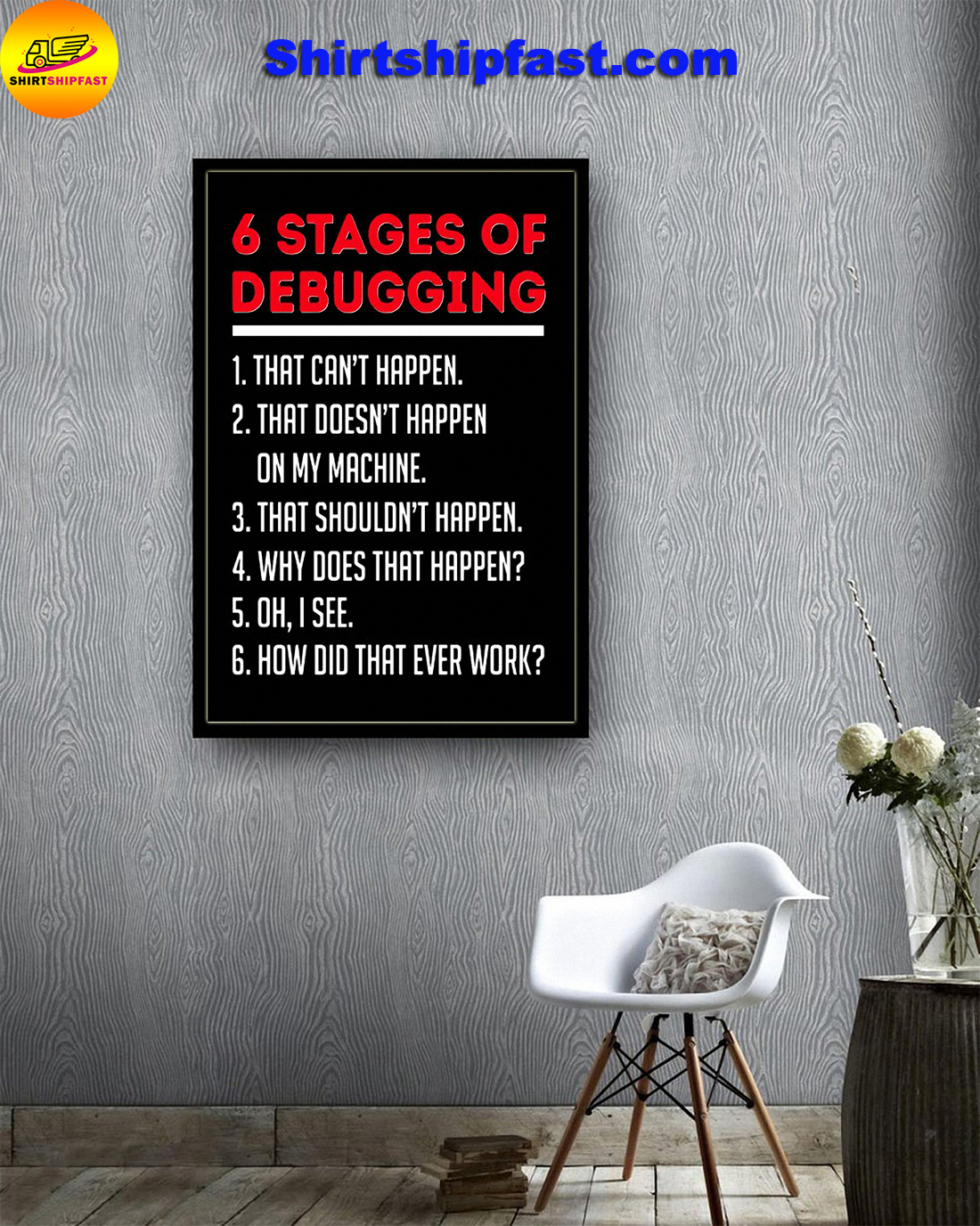 6 stages of debugging poster - Picture 1