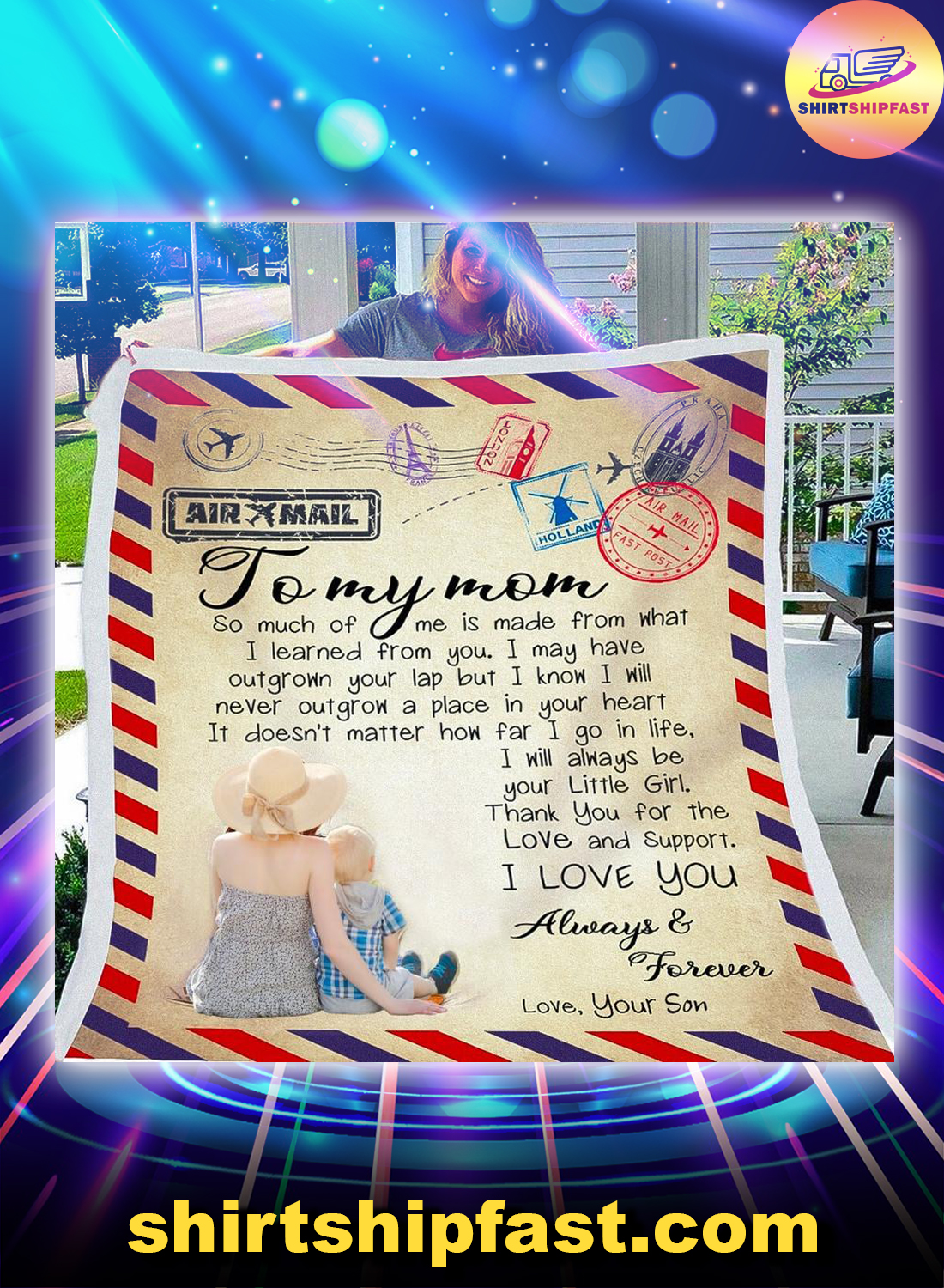 Airmail To my mom so much of me is made from what I learned from you blanket - Picture 1