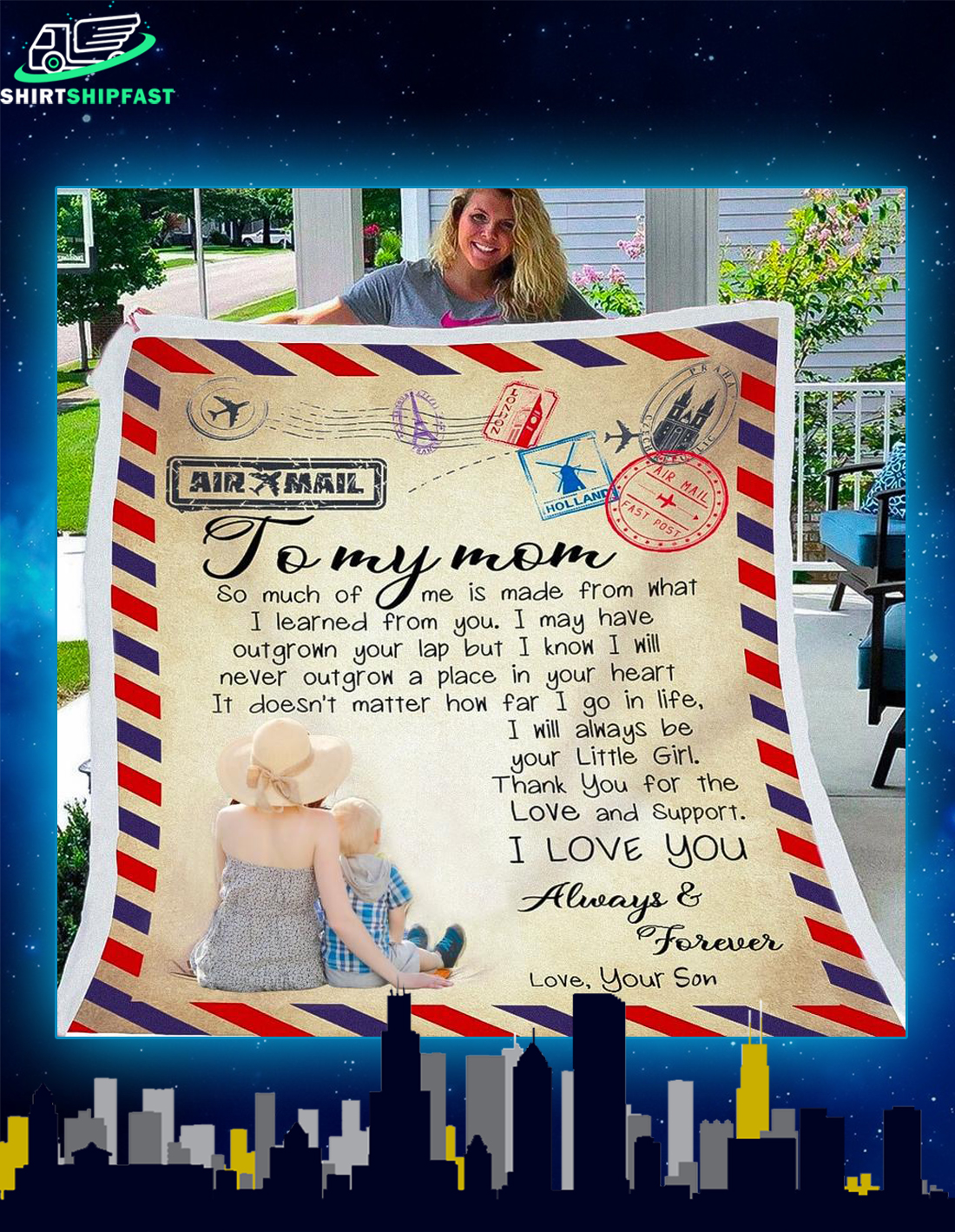 Airmail To my mom so much of me is made from what I learned from you blanket - Picture 2