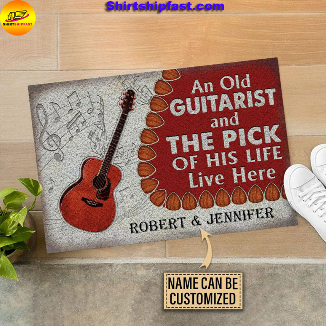 An old guitarist and the pick of his life live here custom name doormat - Picture 1