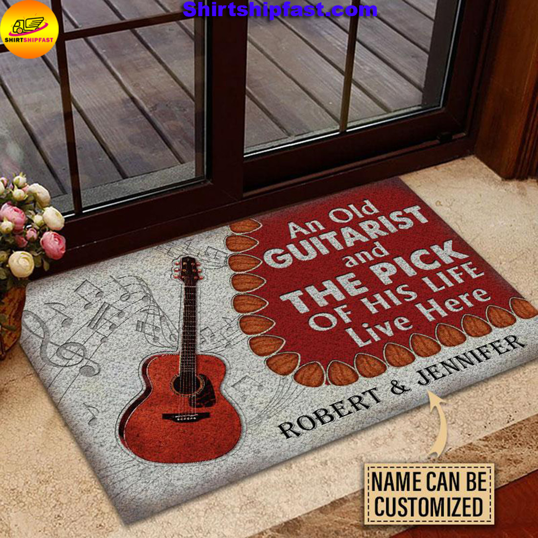 An old guitarist and the pick of his life live here custom name doormat - Picture 2
