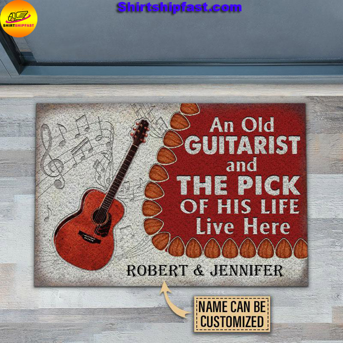 An old guitarist and the pick of his life live here custom name doormat