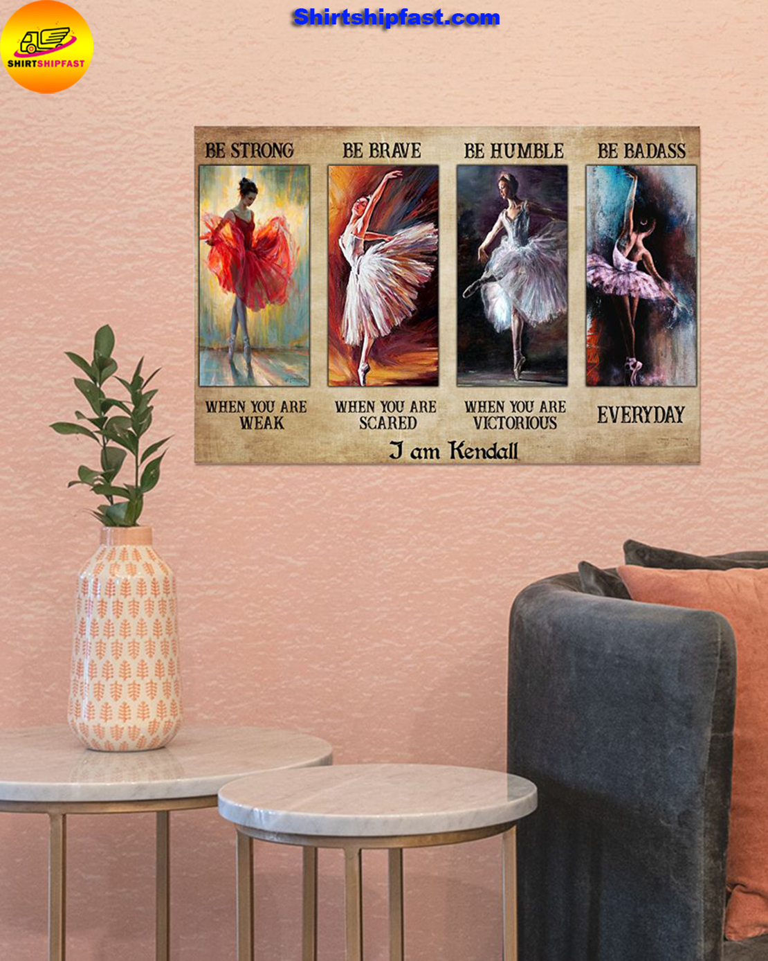 Ballet be strong be brave be humble be badass personalized custom name poster - Picture 2