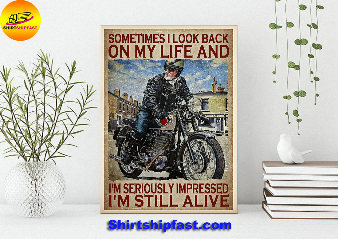 Biker sometimes i look back on my life poster - Picture 1