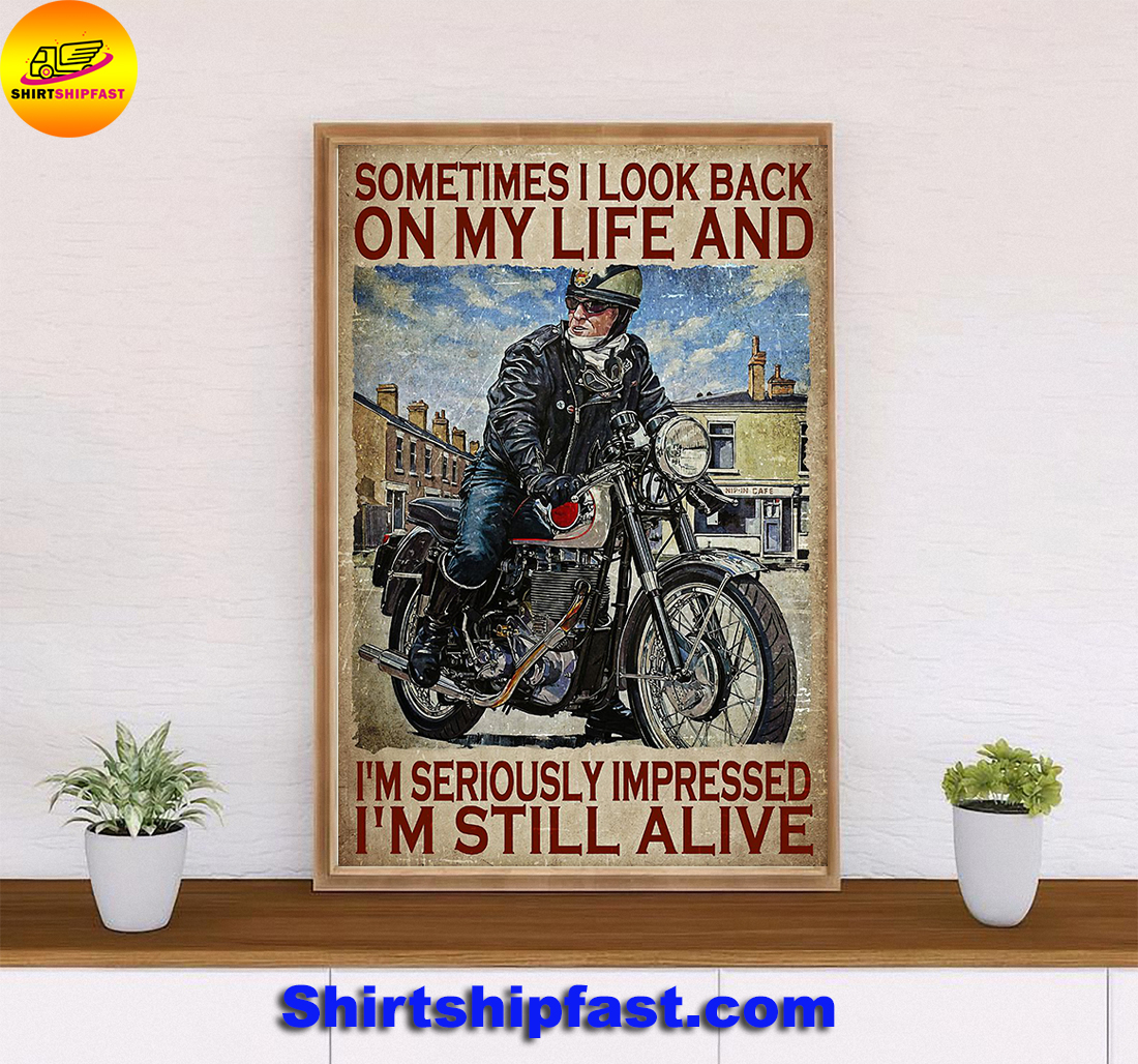 Biker sometimes i look back on my life poster - Picture 3