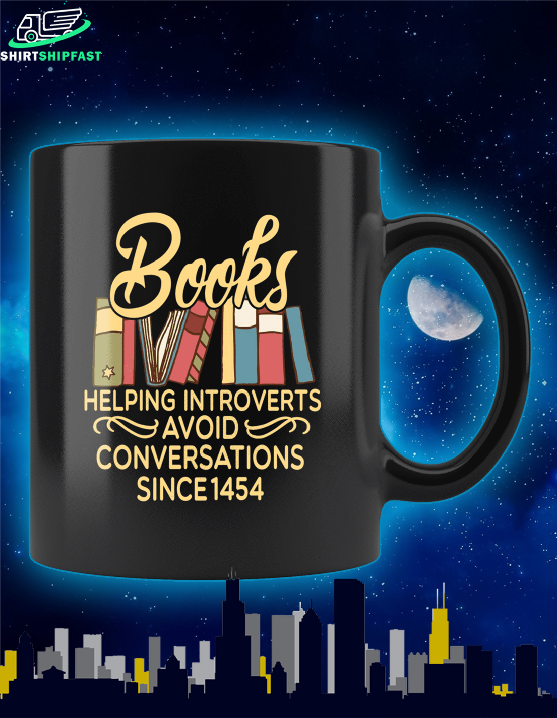 Books helping introverts avoid conversations since 1454 mug - Picture 1