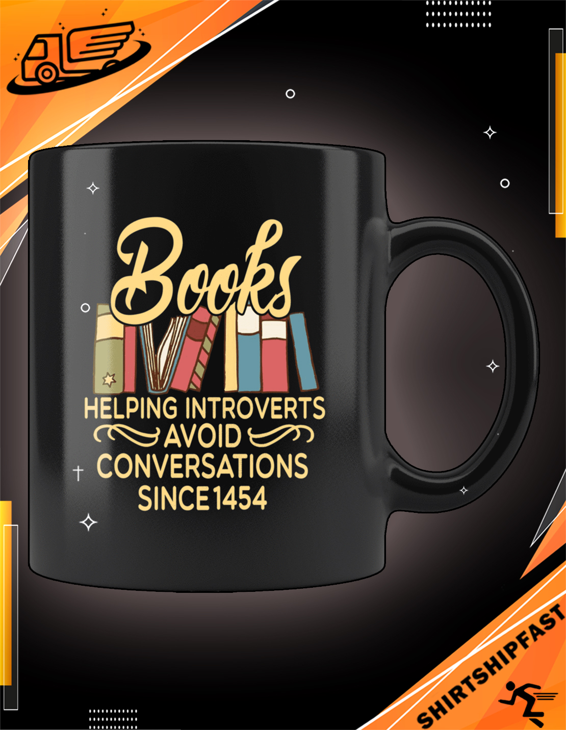 Books helping introverts avoid conversations since 1454 mug - Picture 2