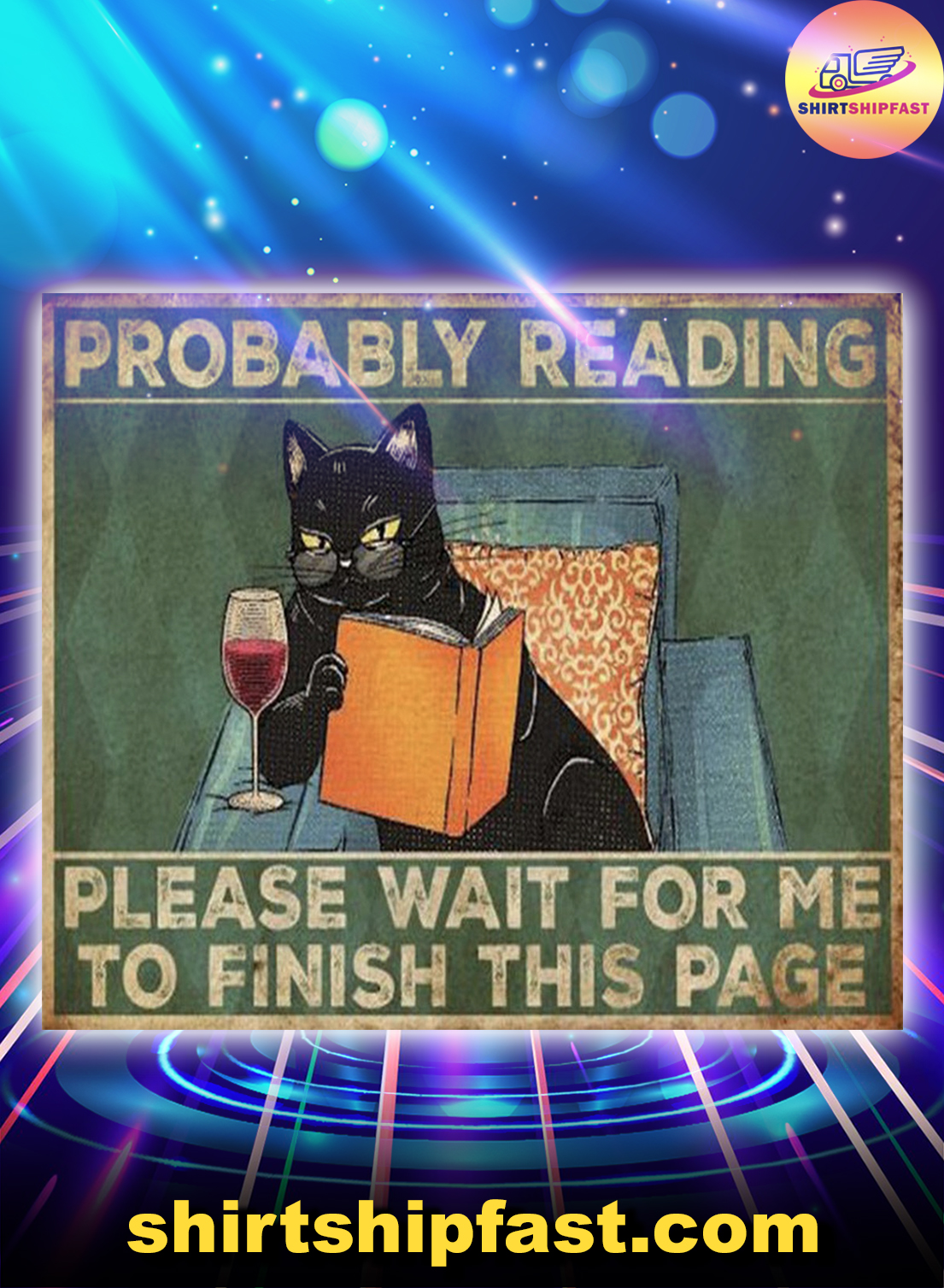 Cat reading book Probably reading please wait for me to finish this page doormat - Picture 1