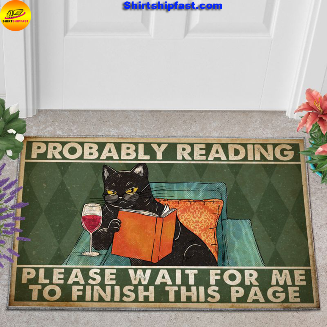 Cat reading book Probably reading please wait for me to finish this page doormat