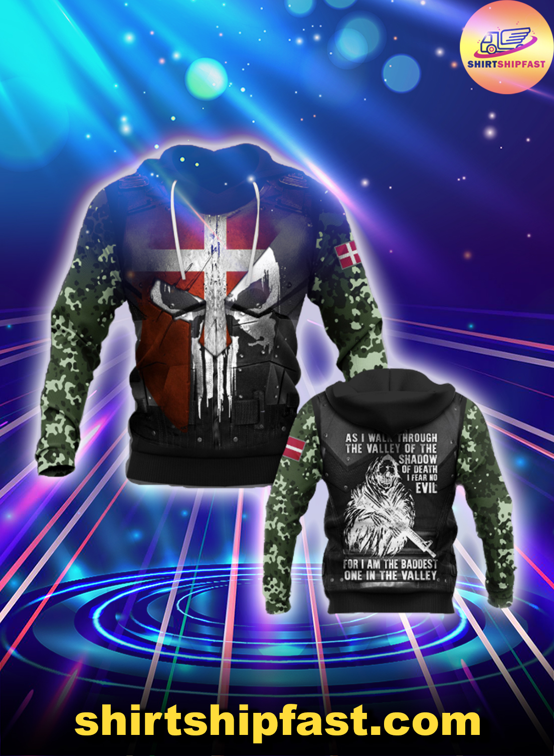Denmark soldier 3d all over printed hoodie - Picture 1
