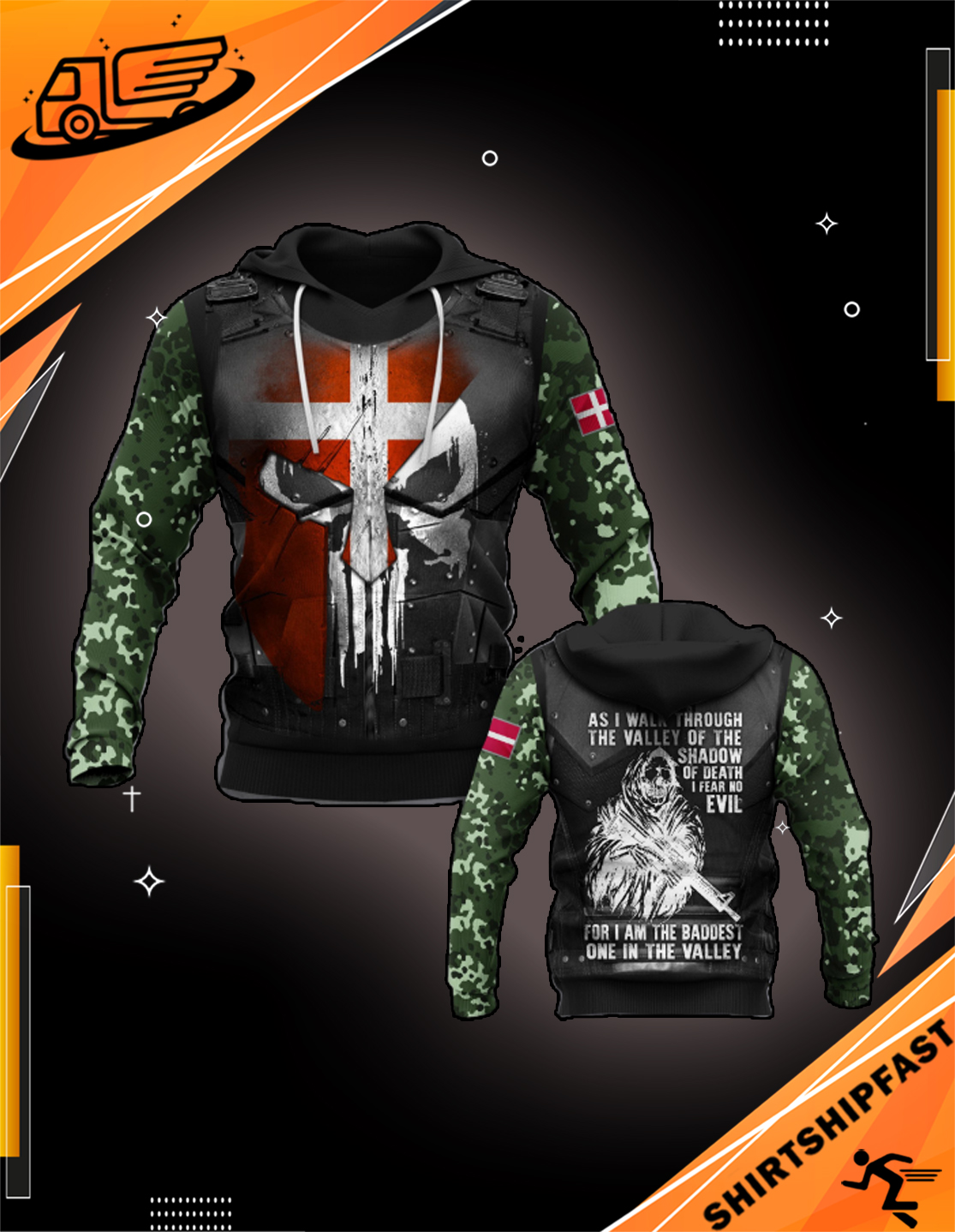Denmark soldier 3d all over printed hoodie - Picture 3