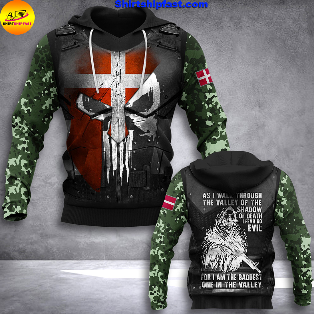 Denmark soldier 3d all over printed hoodie