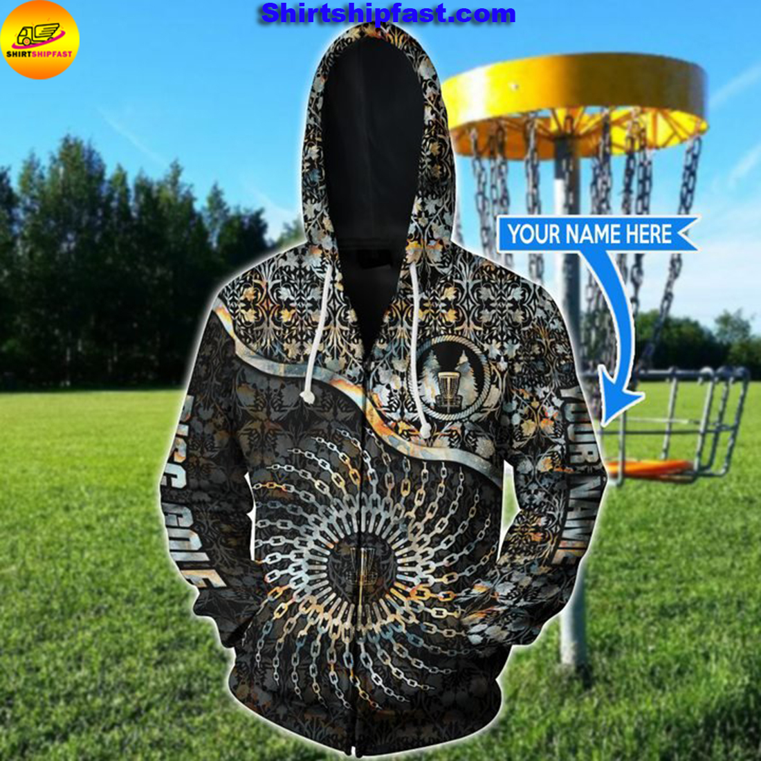 Disc golf chain personalized 3d zip hoodie