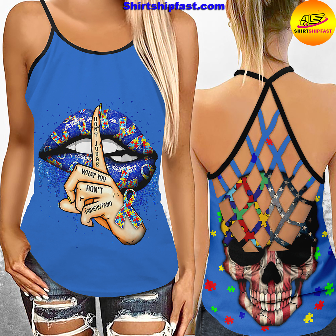 Don't jugde what you don't understand criss-cross open back camisole tank top and leggings