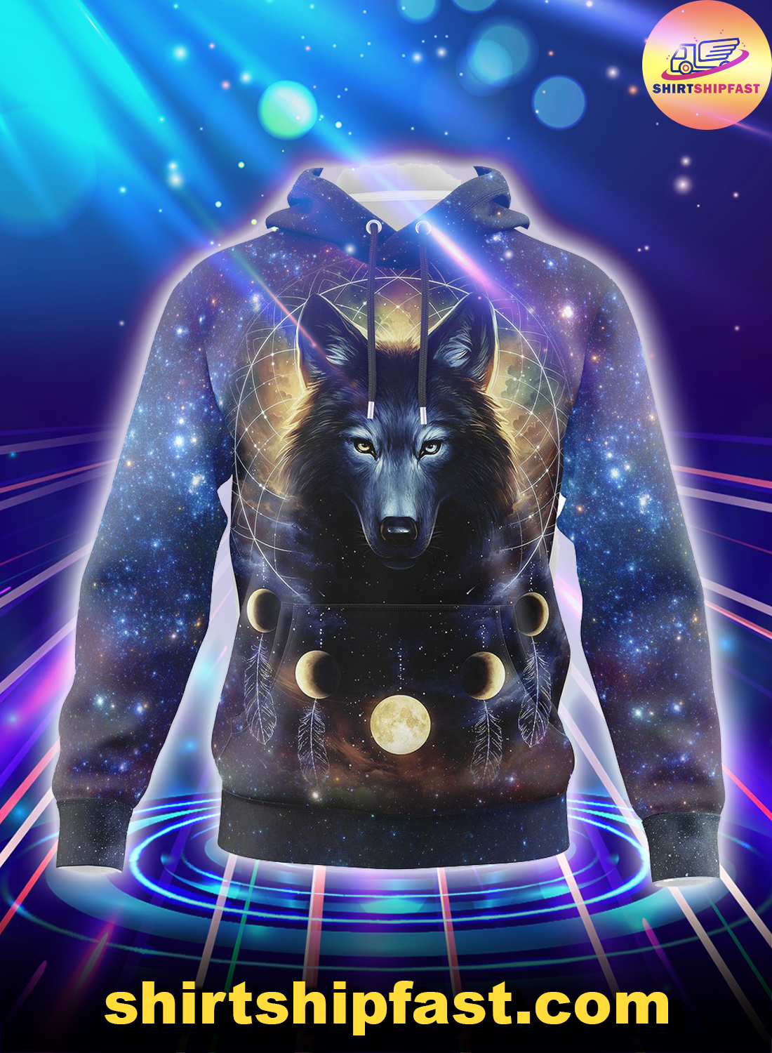 Dreamcatcher night moon wolf all over print 3d hoodie - Picture 1