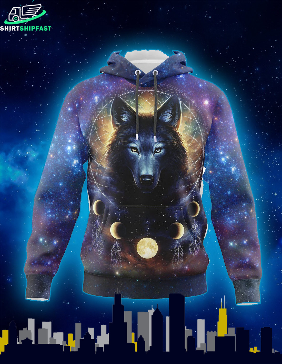 Dreamcatcher night moon wolf all over print 3d hoodie - Picture 2