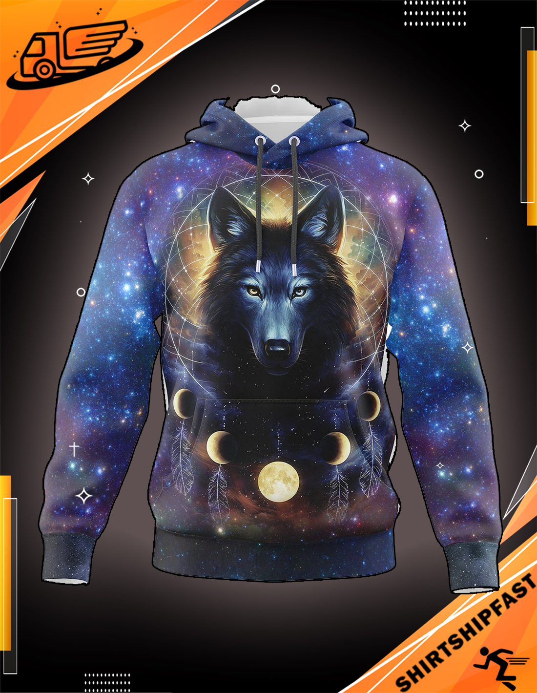 Dreamcatcher night moon wolf all over print 3d hoodie - Picture 3
