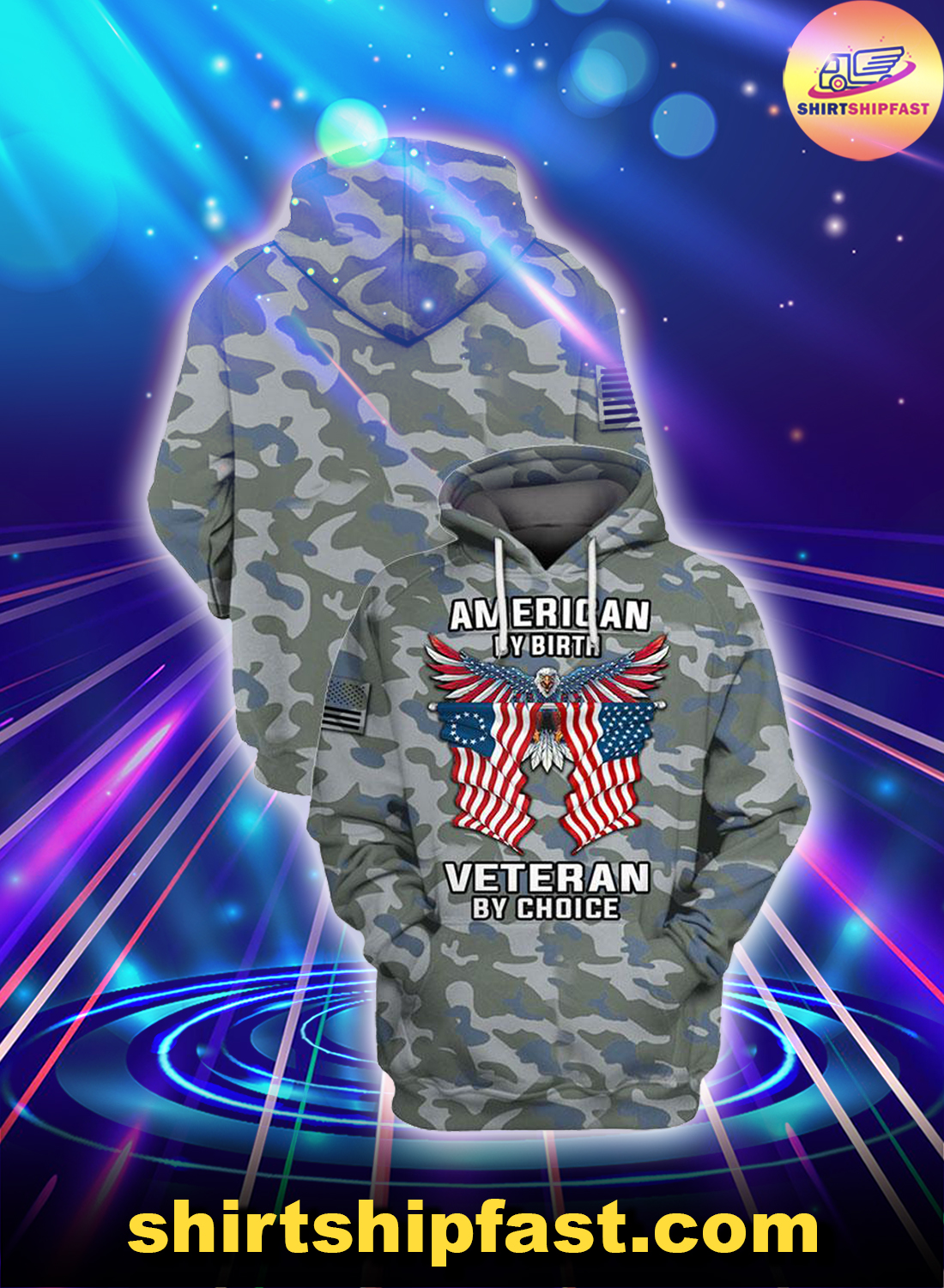 Eagle Camo American by birth veteran by choice veterans day 3d hoodie and zip hoodie