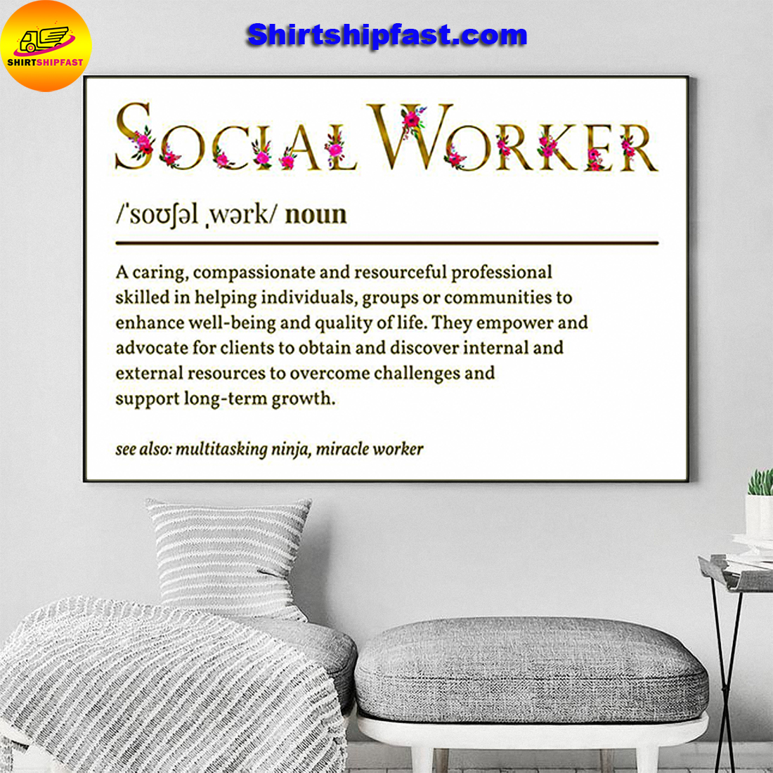 Flower Social worker definition poster - Picture 2