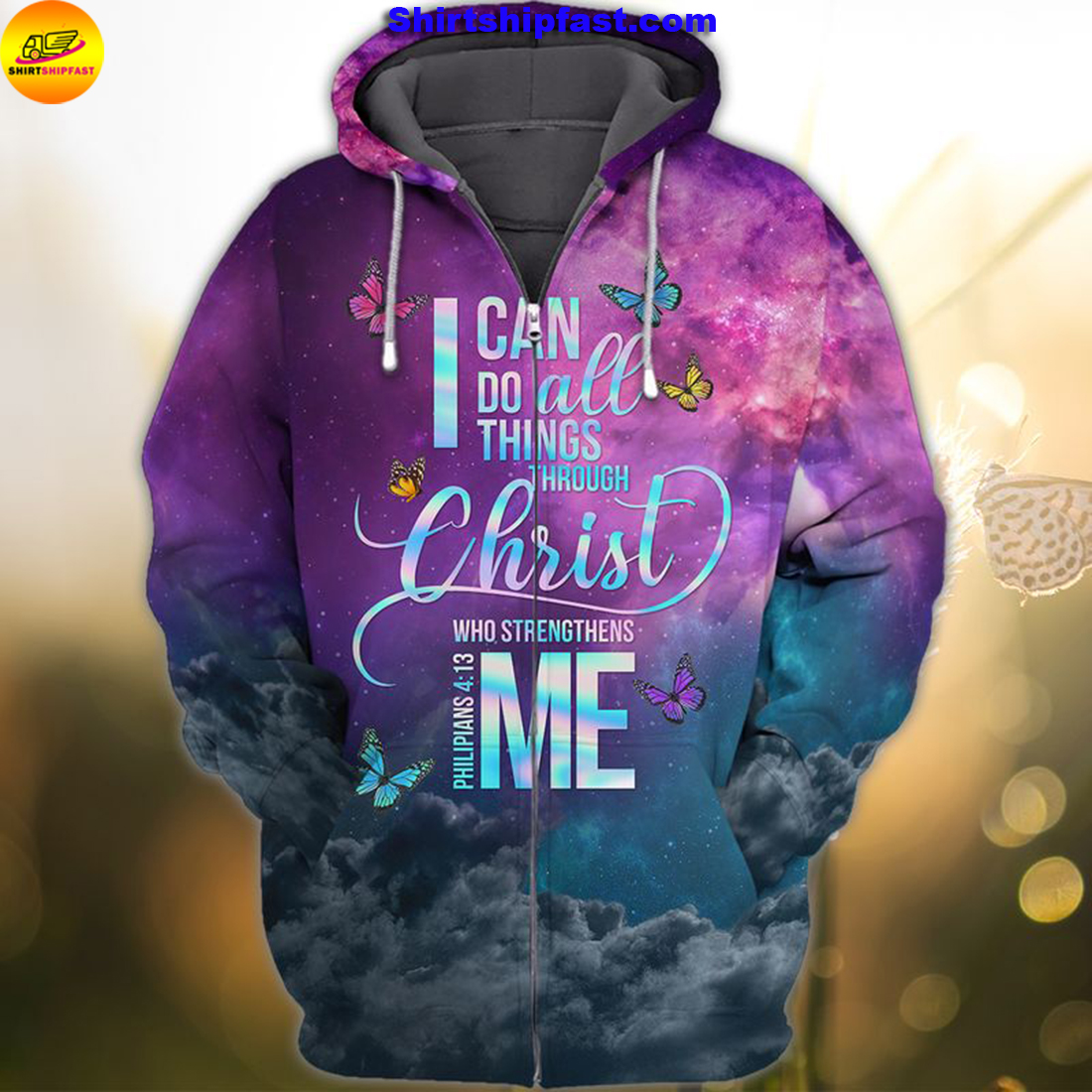 God faith I can do all things through Christ who strengthens me 3d zip hoodie